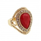 Women's Fashionable Artificial Gemstone Studded Alloy Ring - Gold + Red (US Size: 7)