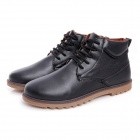 NT00022-2 Men's Winter Fashionable Plush Lining Warm PU Martin Boots - Black (Pair / Size 41)