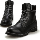 Men's Fashionable Stylish PU Leather Ankle Martin Boots Shoes - Black (Size 44 / Pair)