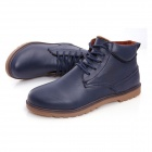 NT00022-6 Men's Winter Fashionable Plush Lining Warm PU Martin Boots - Blue (Pair / Size 39)