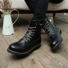 Men's Fashionable Stylish PU Leather Ankle Martin Boots Shoes - Black (Size 42 / Pair)