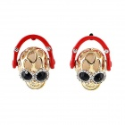 Fashionable Skull Style Rhinestone Inlaid Ear Studs Earrings - Red + Gold (Pair)