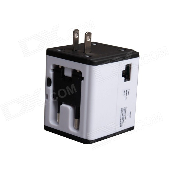 Universal multifunksjonell USB Travel Adapter Plug - Hvit + Svart