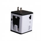 Universal Multifunctional USB Travel Adapter Plug w/ Wi-Fi Wireless Router - White + Black