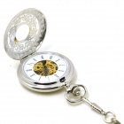 W23 Men's Retro Zinc Alloy Analog Mechanical Pocket Watch - Silver