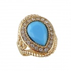 Women's Fashionable Artificial Gemstone Studded Alloy Ring - Gold + Blue (US Size: 7)