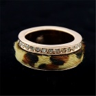 Stylish Leopard-Print Rhinestones Studded Alloy Ring - Gold (US Size: 7)