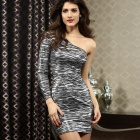 LC2871 Women's Sexy One-Shoulder Leopard Print Dress - Silver (Free)