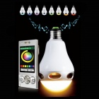E27 6W White / RGB Light LED Bluetooth V3.0 Speaker for Android + iOS Devices - White + Silver