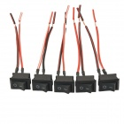 AC 250V 6A / 125V 10A SPST ON / OFF Position Momentary Rocker Switch for Car - Black + Red (5PCS)