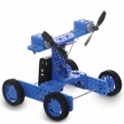DIY Assembly Wind Powered Car Toy - Blue + Black