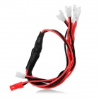 JST+ 1-to-5 Silicone Charging Cable - Black + Red (28cm)