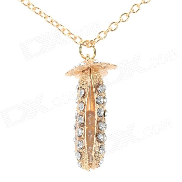 Women's Rhinestone Studded Pea-shaped Pendant Necklace - Golden