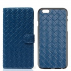 Luxury Woven Pattern 2-in-1 Detachable Protective PU Leather + PC Case for IPHONE 6 - Blue