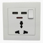 Wall Mounted Dual-USB + 3-Hole AC Power Socket Panel - White