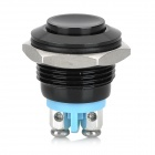 15011205 16mm Metal Automatic Reset Press Button Switch - Black + Blue