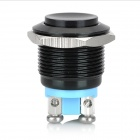 15011203 19mm Metal Automatic Reset Press Button Switch - Black + Blue