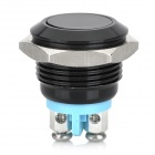 15011204 16mm Metal Automatic Reset Press Button Switch - Black + Blue
