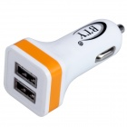 BTY M626 2.4A Dual USB Car Cigarette Lighter Power Charger - White + Orange (10~40V)