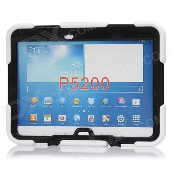"Silicone Case w/ Stand for Galaxy Tab3 10.1"" P5200 - White"