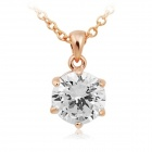 Rshow Women's Fashionable 18K RGP Alloy Rhinestone Studded Decoration Pendant Necklace - Gold