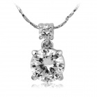 Rshow Women's Fashionable 18K RGP Alloy Rhinestone Studded Decoration Pendant Necklace - Silver