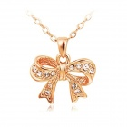 Rshow Women's Lovely Bowknot Style 18K RGP Alloy Rhinestone Studded Pendant Necklace - Gold
