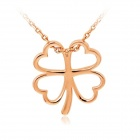 Rshow Women's Fashionable Four-Leaf Clover Style 18K RGP Alloy Pendant Necklace - Gold