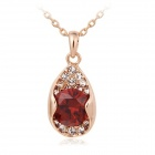 Rshow Women's Water Drop Style 18K RGP Alloy Rhinestone Studded Pendant Necklace - Red + Gold