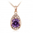 Rshow Women's Water Drop Style 18K RGP Alloy Rhinestone Studded Pendant Necklace - Purple + Gold