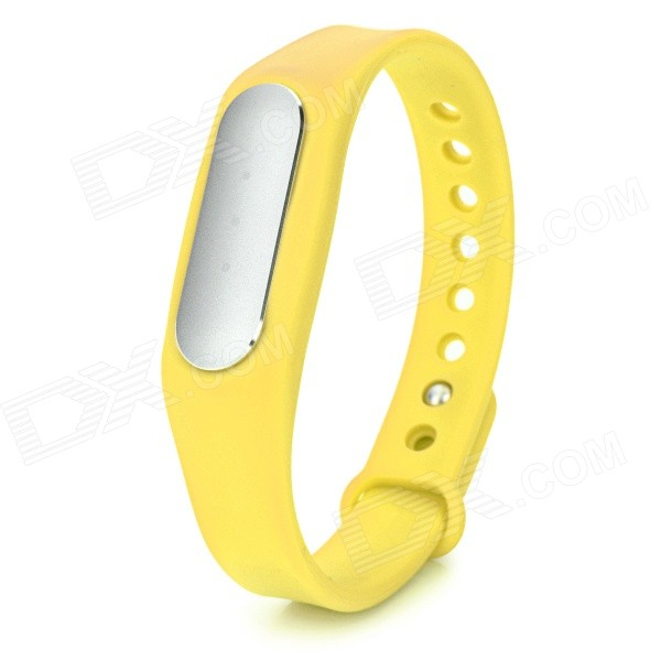 Xiaomi Bluetooth Smart Bracelet w/ Sleep &amp; Sport Tracker - YellowSmart Bracelets<br>Form  ColorYellowQuantity1 DX.PCM.Model.AttributeModel.UnitMaterialMagnesium aluminum alloy + TPSiV + polycarbonateShade Of ColorYellowWater-proofIP67Bluetooth VersionBluetooth V4.0Touch Screen TypeNoOperating SystemAndroid 4.4Compatible OSAndroid 4.4, MIUI, iOS 7.0 and aboveBattery Capacity45 DX.PCM.Model.AttributeModel.UnitBattery TypeLi-polymer batteryStandby Time60 DX.PCM.Model.AttributeModel.UnitOther FeaturesWristband lengthL 22cm; With white LED indicator lightPacking List1 x Bracelet1 x Charging cable (10cm)1 x Chinese user manual<br>