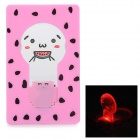 Lovely Pattern Card Style 0.2W 635nm Red Light 0402 SMD LED Night Lamp - Pink (1 x CR1220)