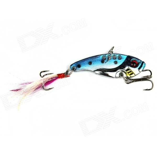 Fish Shape Dual Triangle Head Jig Fishing Lure Bait Hook - Blue