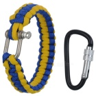 Outdoor Emergency Survival Parachute Cord Bracelet w/ U-Shaped Shackle / Carabiner - Yellow + Blue
