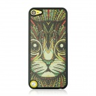 Cat Head Paint Pattern Stylish PC Back Case for IPOD TOUCH 5 - Black + Yellow