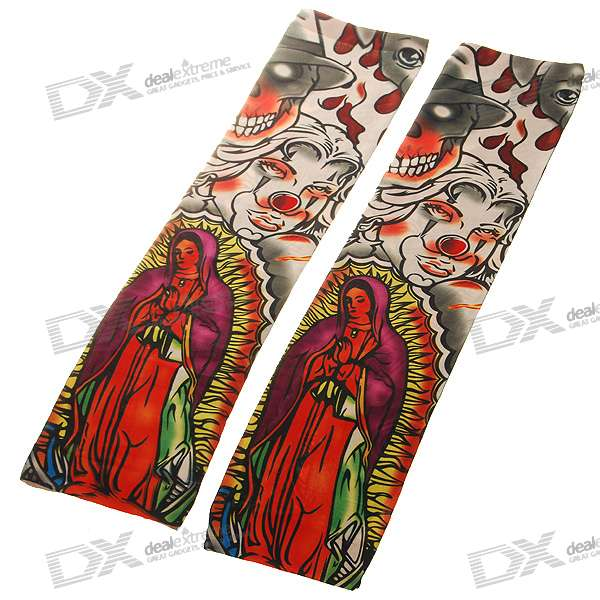 Colorful Tattoo Style Sleeves Arm Stockings - Virgin of Guadalupe