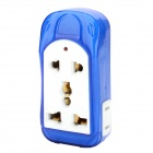 JZR-008 Travel Multi-Function 10A 4-Outlet AC Power Socket - White + Blue (US Plug / 250V)
