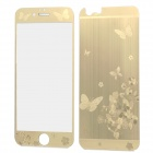 Stylish Laser Etching Butterfly Pattern Tempered Glass Front + Back Guard for IPHONE 6 - Golden