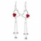 Women's Heart & Rose Shaped Pendant Earrings - Red + Silver (Pair)