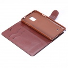 Protective PU Leather Flip Open Case w/ Stand / Card Slots for Samsung Galaxy Note 4 - Black + Brown