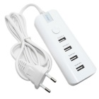 4-Port USB Hub AC Charger Adapter Strip w/ Indicator - White (EU Plug)