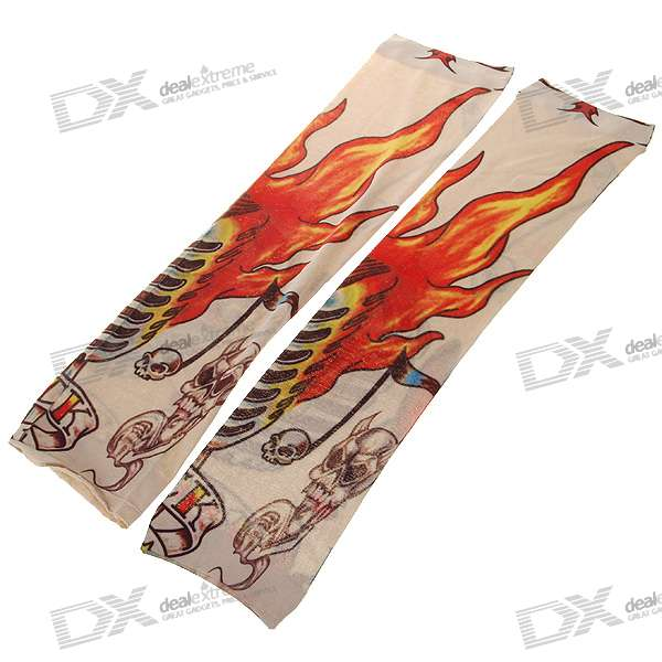 Colorful Tattoo Style Sleeves Arm Stockings - Flaming Skull