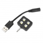 oppladbart 3,5 mm jack 3-Mode 5600K LED blits lampe - svart