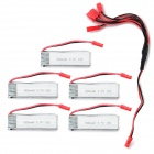 JST Plug 1-to-5 Charging Cable + 3.7V 500mAh Li-polymer Batteries Set - Silver + Red