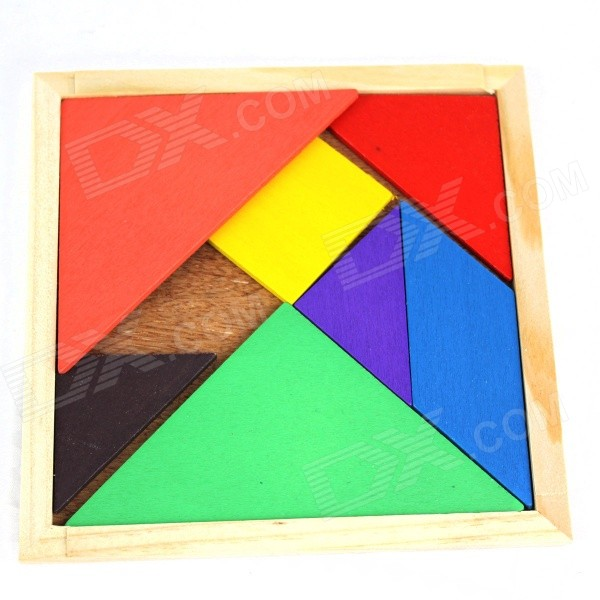 Educational Wooden Tangram Puzzle Toy - Wood Color + Multicolor
