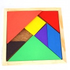Educational Wooden Tangram Puzzle Toy for Children / Kids - Wood Color + Red + Multicolor
