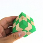 Educational Wooden Magic Cube Square Toy - Wood Color + Green
