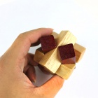 Educational Overlap Cross Wooden Unlock Puzzle Toy - Red + Wood Color