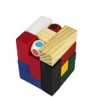 Three-Dimensional Wooden Domino Throw Dice Pile-up Puzzle Brick Toy - Wood Color + Red + Multicolor