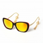 Fashion Lantern Style UV400 Protection High Nickel Alloy + PC Sunglasses - Black + Red + Red REVO